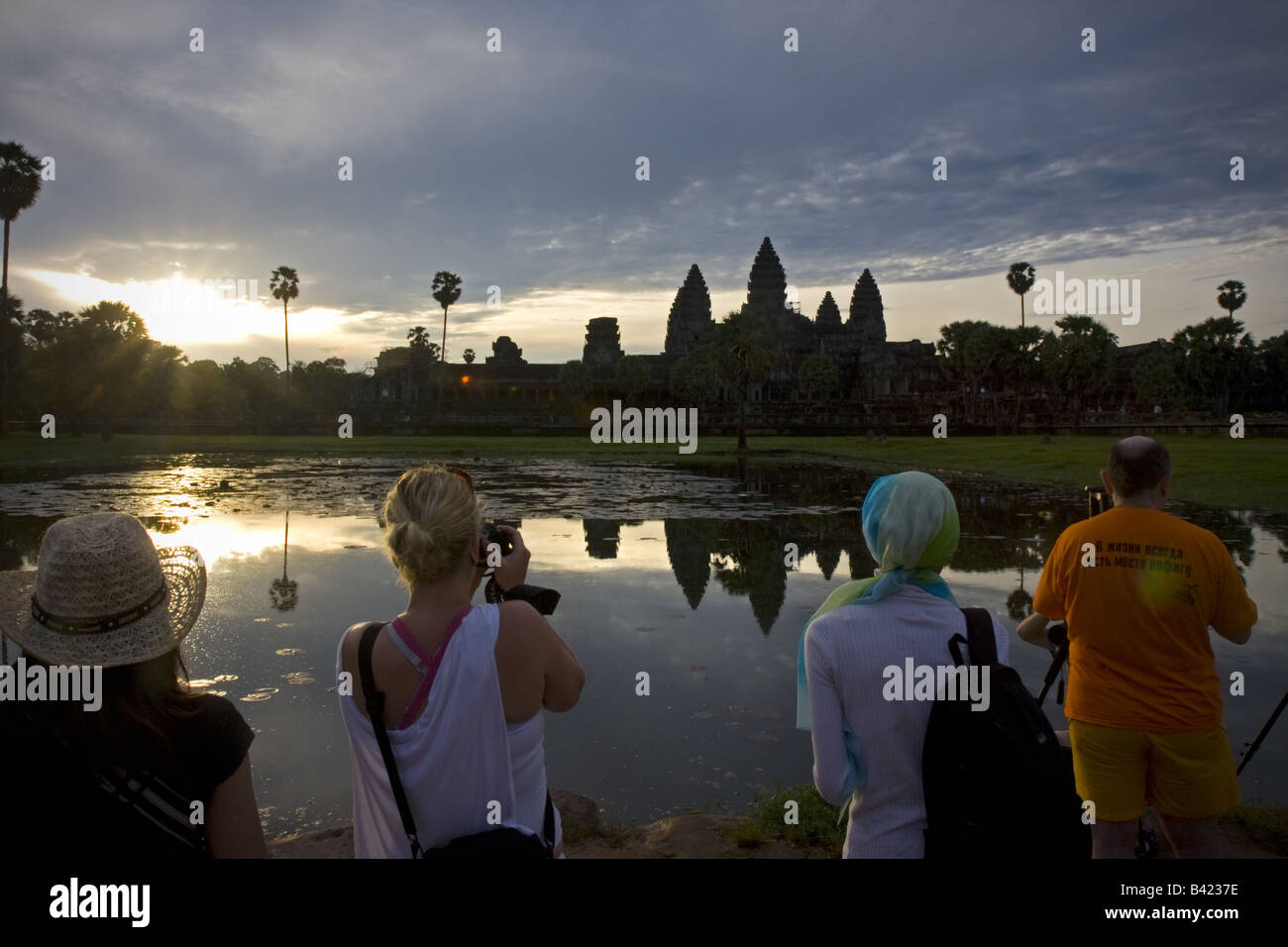 Tourists in Temple of Angkor wat Cambodia - Stock Image