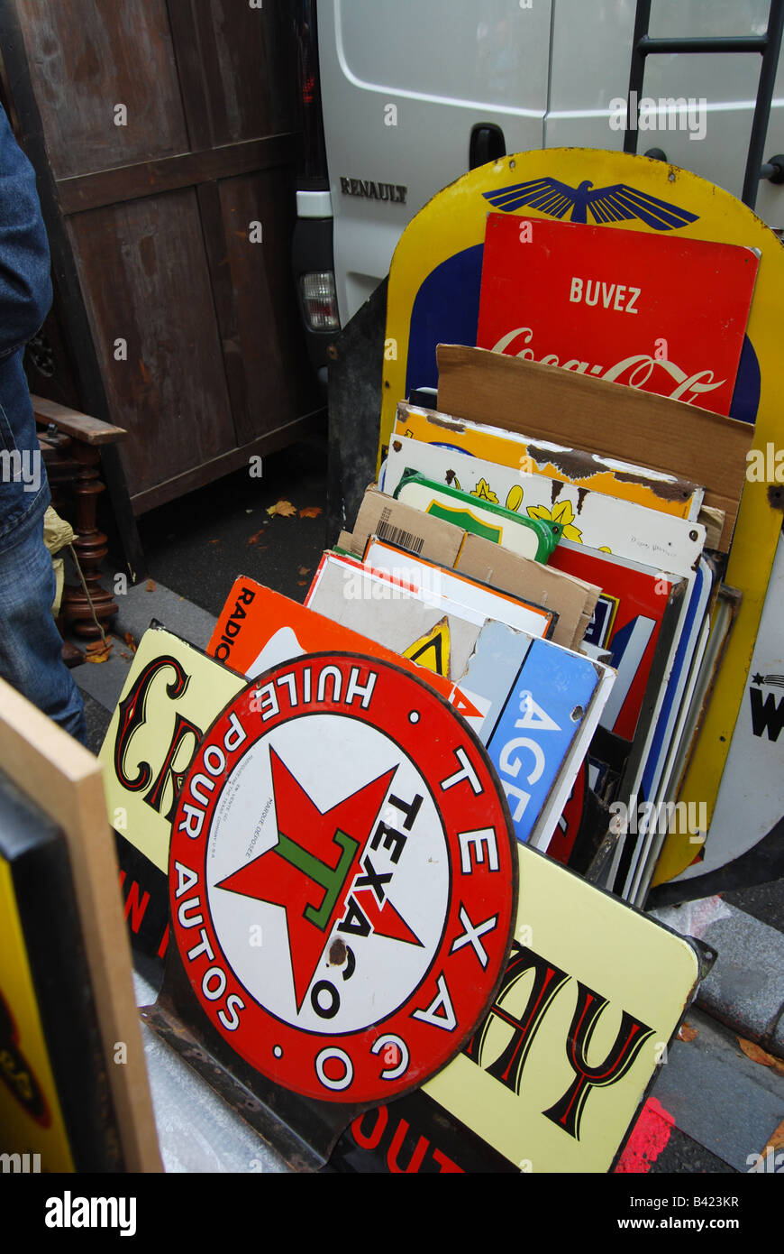 mixed collection of enamel signs at Lille Braderie France - Stock Image