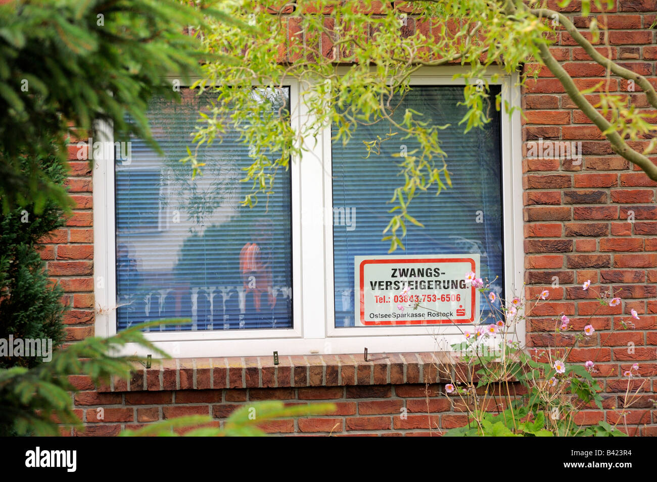 a house to be put up for compulsory sale in Mecklenburg-Western Pomerania, germany. - Stock Image