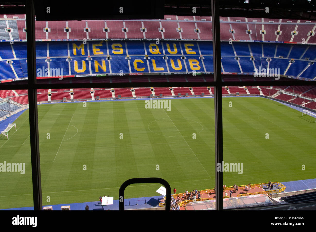 View of the Camp Nou pitch from the commentator`s box high above the main stand - Stock Image