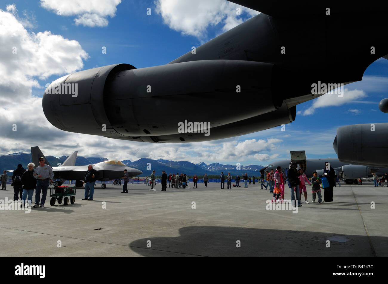 Twin jet engines pod of bomber Boeing B-52 during air show,  Elmendorf Air Force Base, Anchorage, Alaska, USA - Stock Image