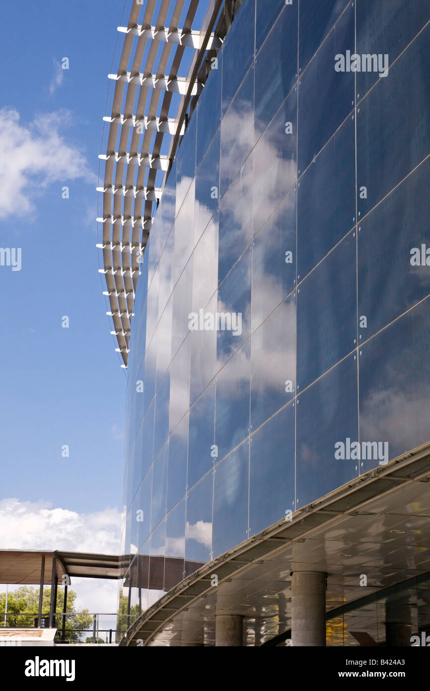 The glass exterior of the Camp Nou football stadium in Barcelona Spain - Stock Image