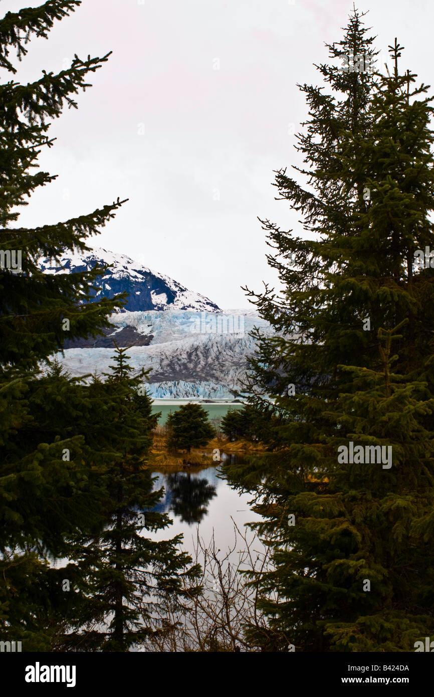 Mendenhall Glacier and moraine lake near Juneau Alaska - Stock Image