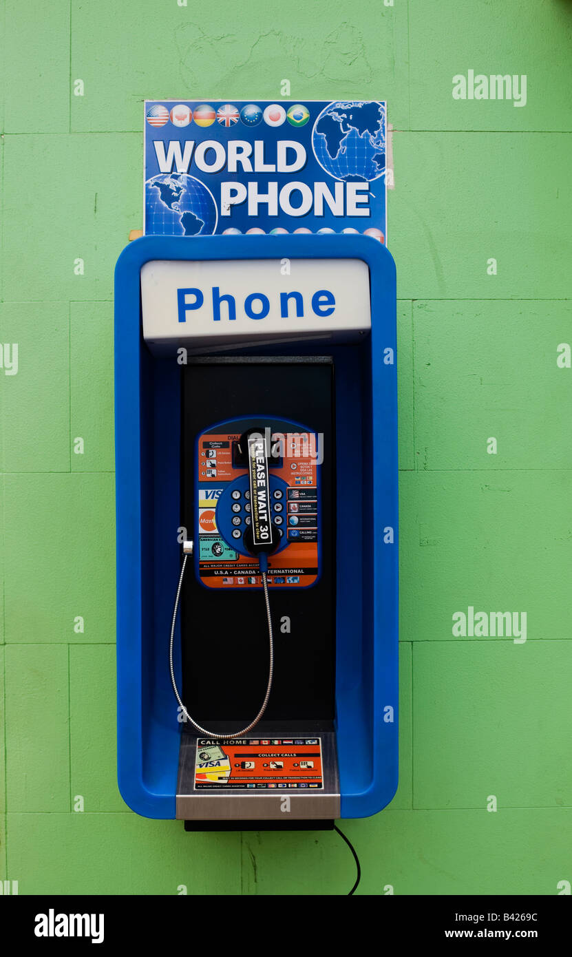 World Phone international phone call box in the capital St John's Antigua - Stock Image