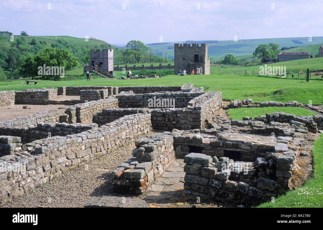 Vindolanda Roman archaeological Site Northumberland Hadrians Wall English archaeology ruins walls camp England UK - Stock Image