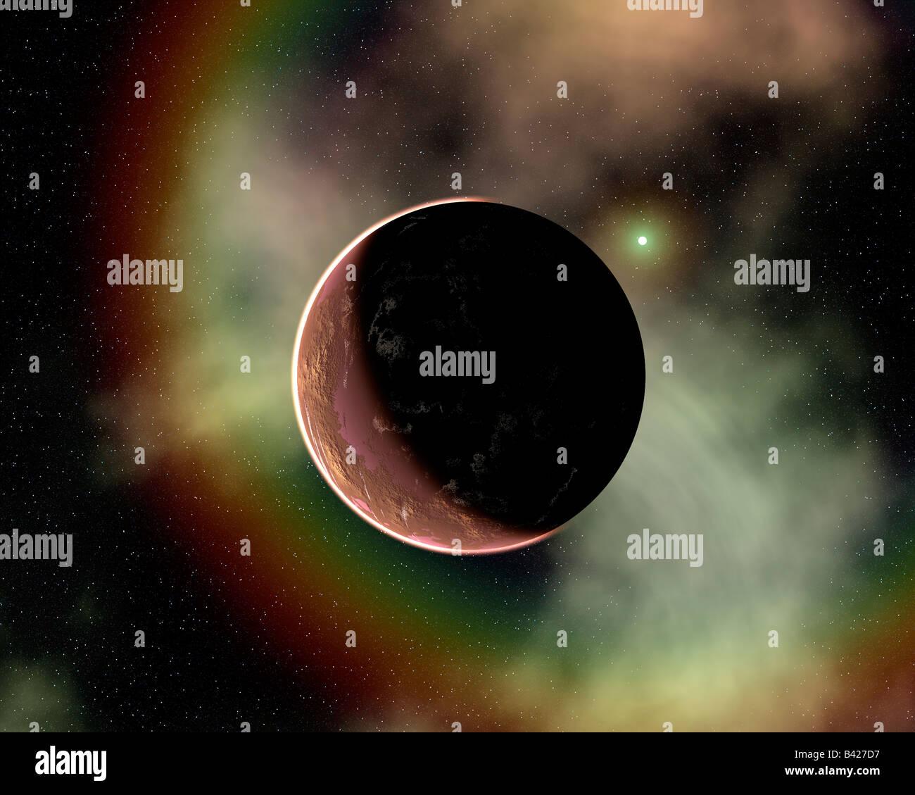 Rainbow Nebula A SciFi,Fantasy Concept Image. - Stock Image