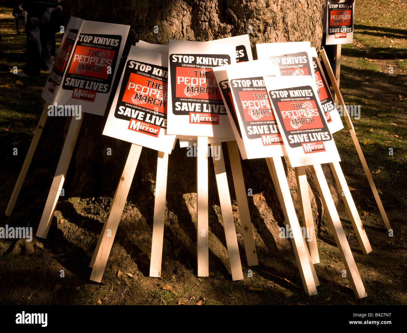 Placards at The People s March, Saturday 20 Sept 2008. March and demo against knife crime, London, UK. - Stock Image