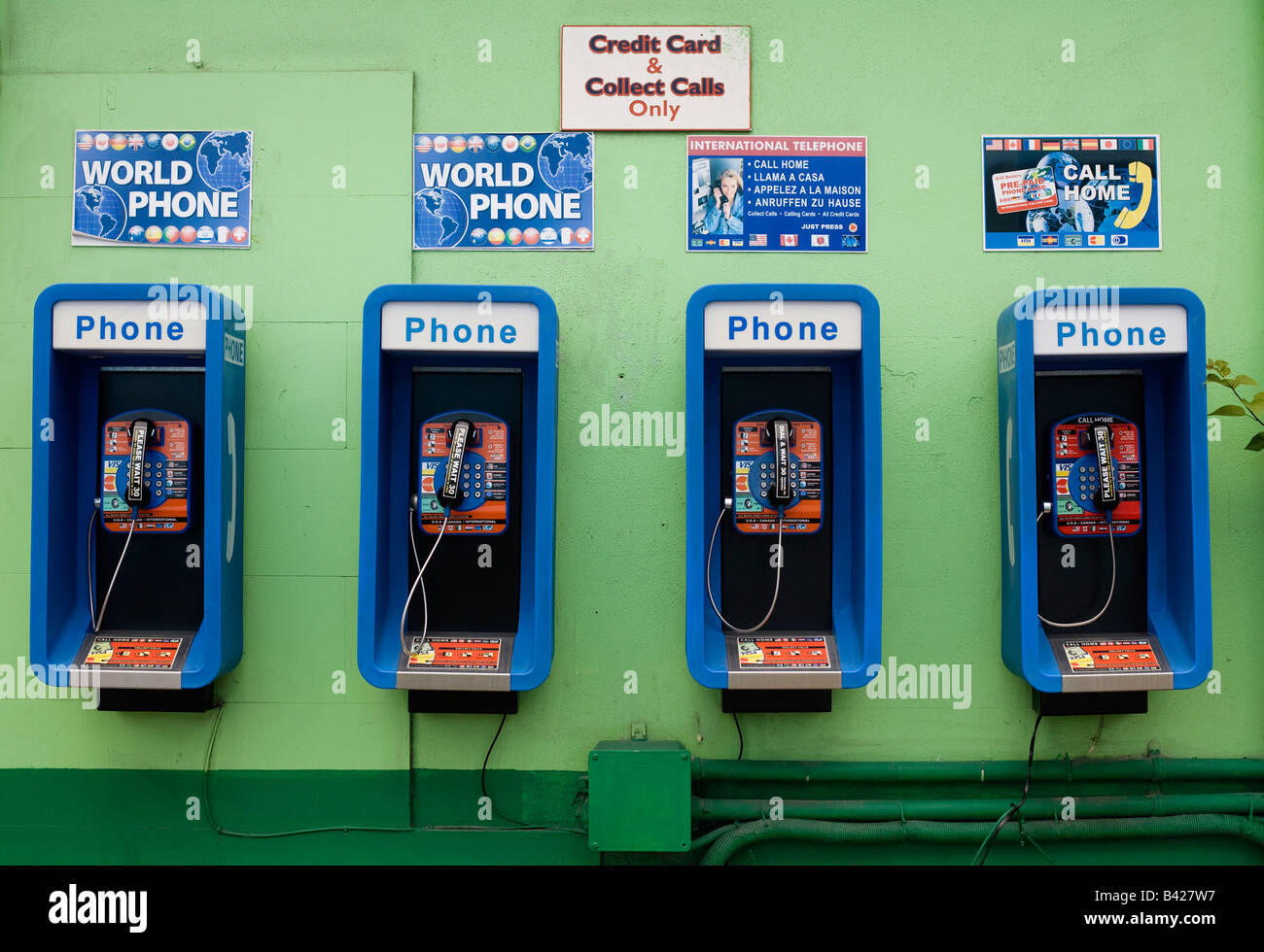 World Phone international phone call boxes in the capitol St John's Antigua - Stock Image
