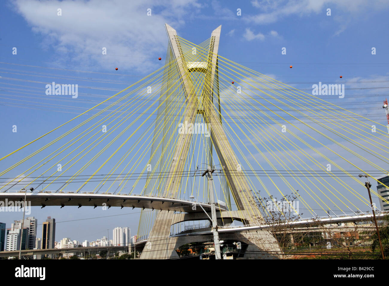 Octavio Frias Cable Bridge Sao Paulo Brazil - Stock Image