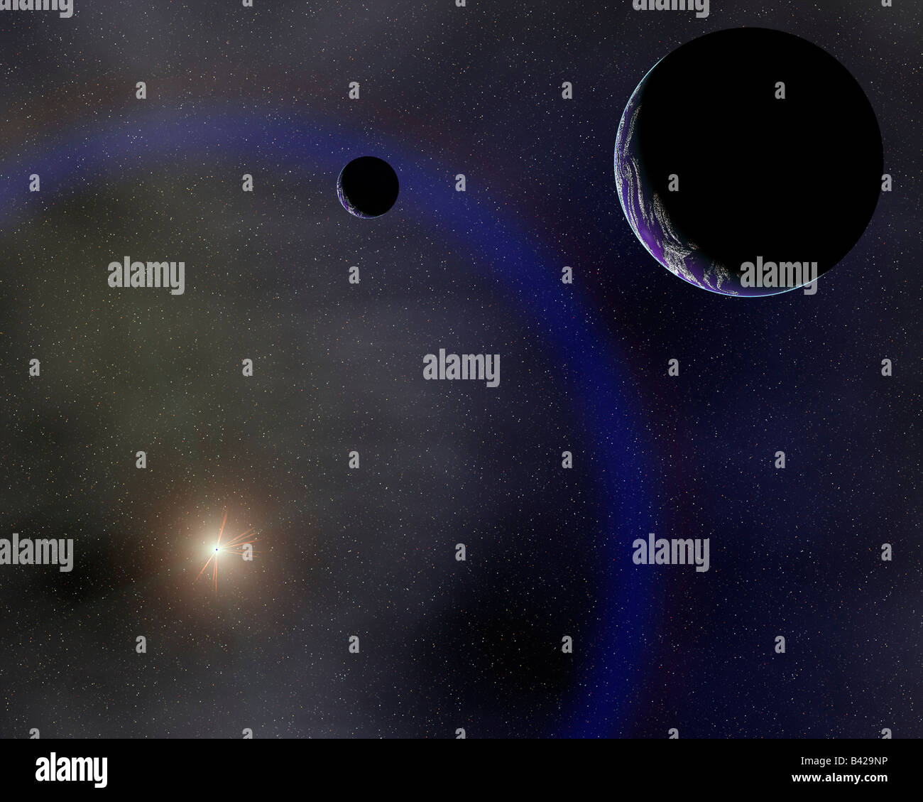 The Earth & Moon In Orbit Around The Sun. - Stock Image