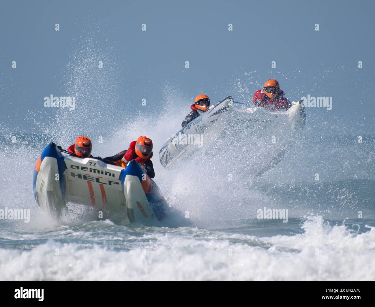 Action from the 2008 Zapcat Powerboat National Championship finale at Watergate Bay, Cornwall. - Stock Image