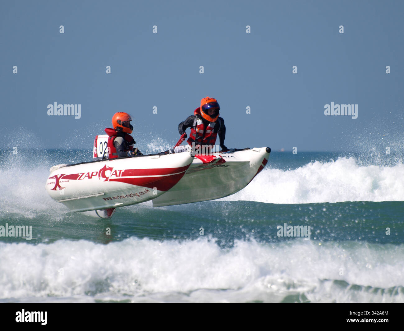 Action from the 2008 Zapcat Powerboat National Championship finale at Watergate Bay, Cornwall - Stock Image
