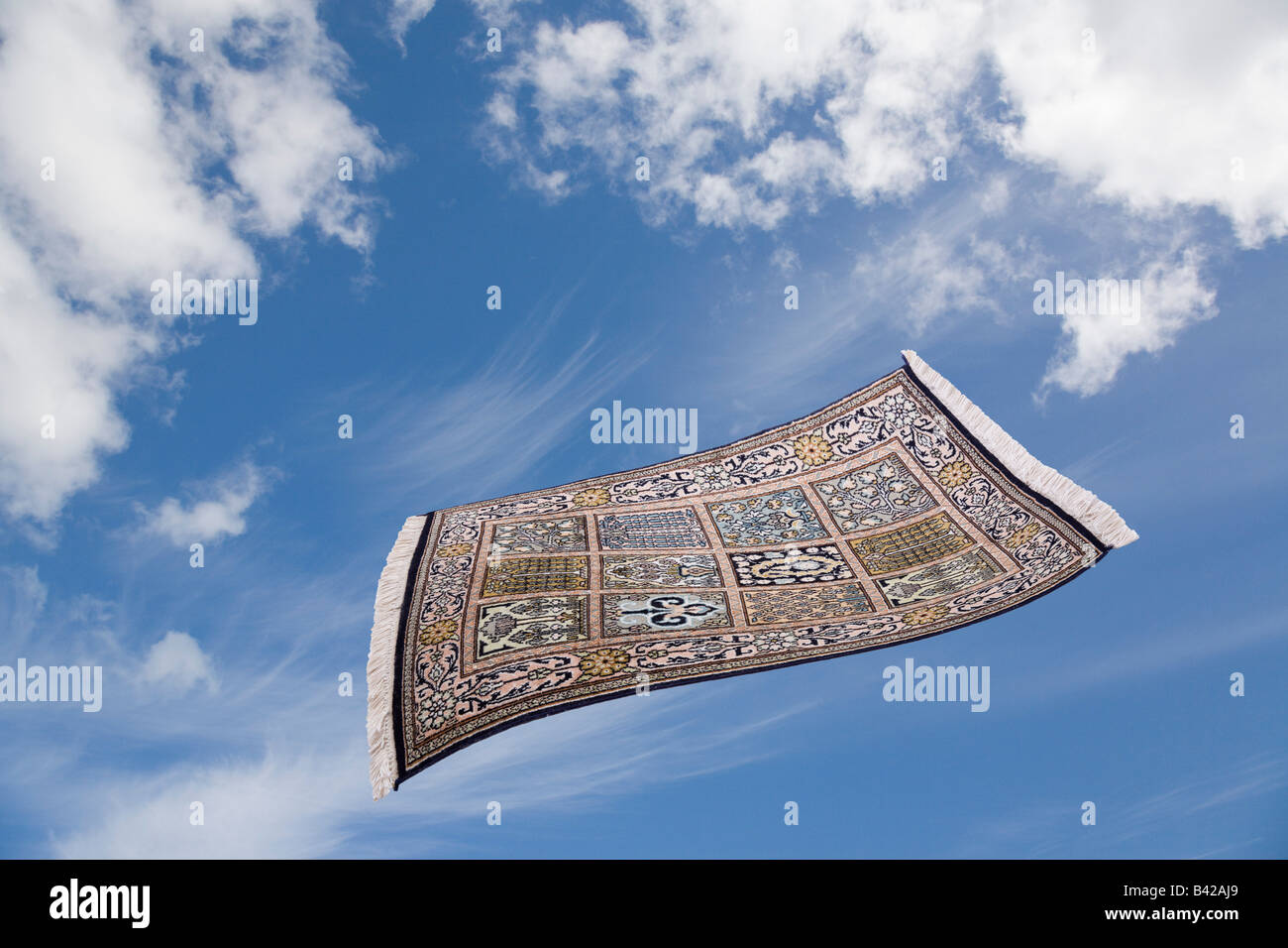 Magic Carpet Flying Across Blue Sky With White Clouds