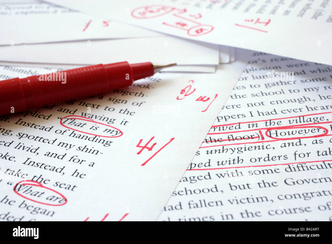 Editing an English language document - Stock Image