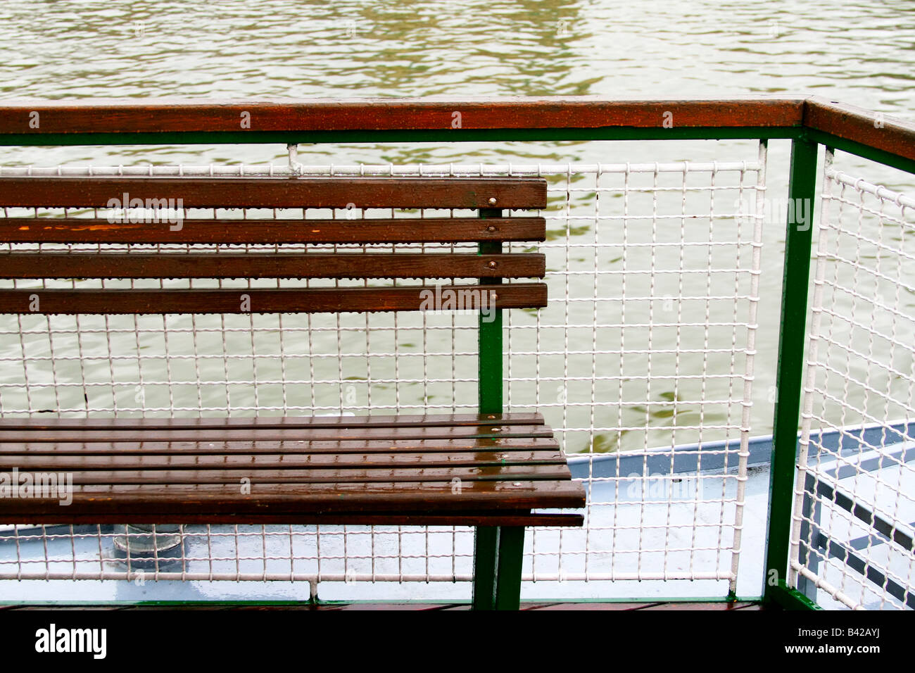 Astonishing Wooden Bench In The Rain On A Trip Boat On Danube River Evergreenethics Interior Chair Design Evergreenethicsorg
