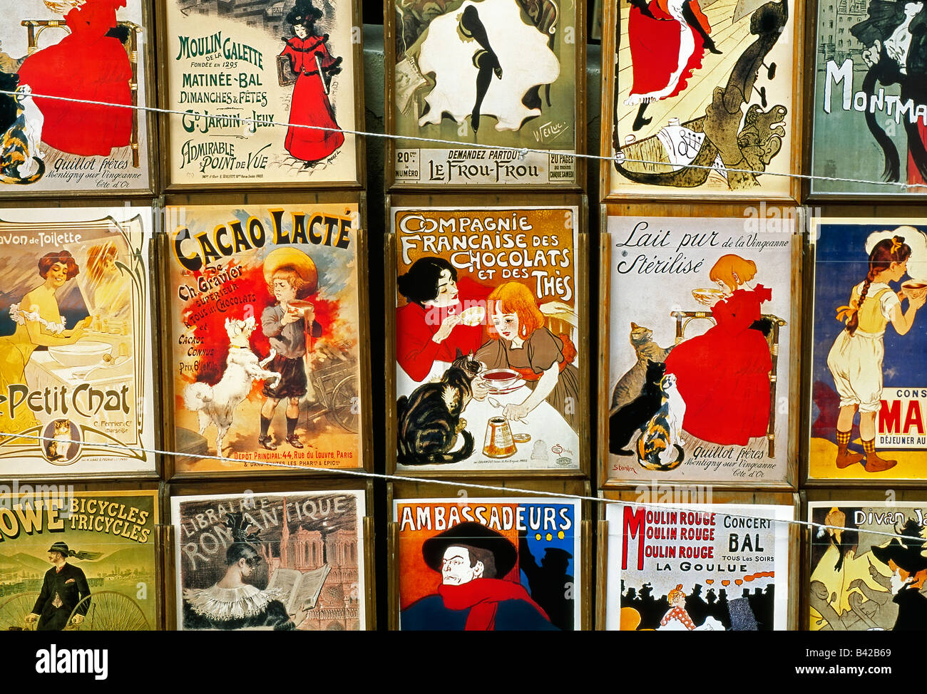 France, Paris, French Collection postcards with art and ads from before the war - Stock Image