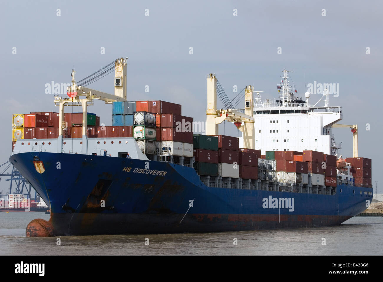 Container ship HS Discoverer, Port of Felixstowe, Suffolk, UK. - Stock Image
