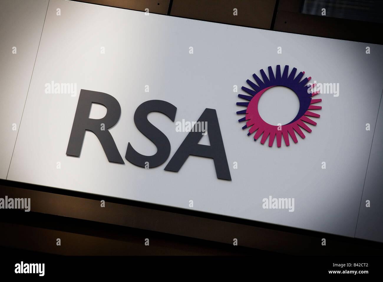 RSA insurance group logo outside London headquarters - Stock Image