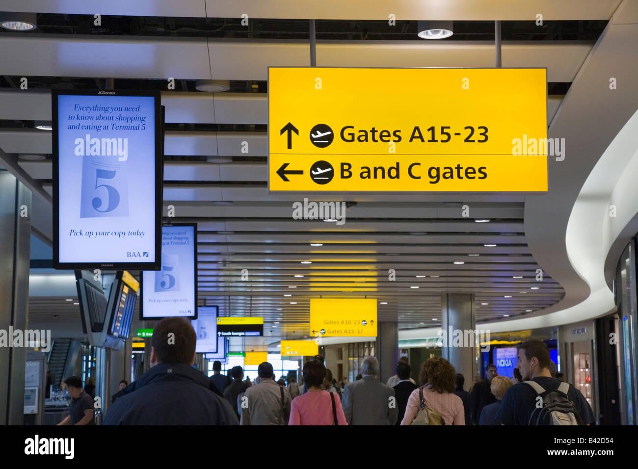 Heathrow Greater London England UK Heathrow Airport International Departures lounge in British Airways Terminal - Stock Image