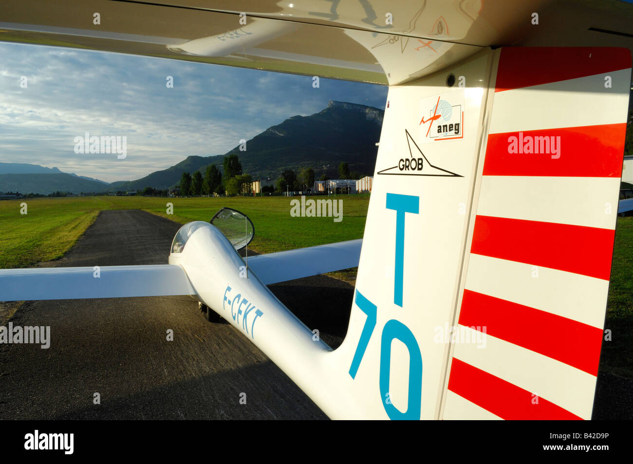 A glider Grob Twin Astir ready to taking off on a french airfield in French Savoy Alps - France - Stock Image