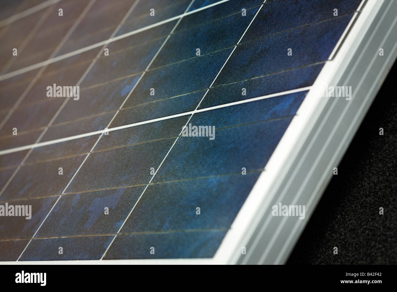 A closeup detail shot of a photovoltaic PV solar panel. - Stock Image