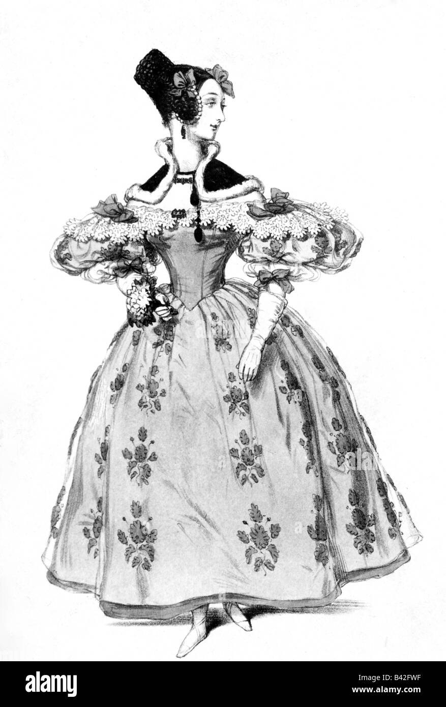 fashion, 19th century, ladies fashion, France, drawing by Paul Gavarni, Paris, 1834, Additional-Rights-Clearances - Stock Image