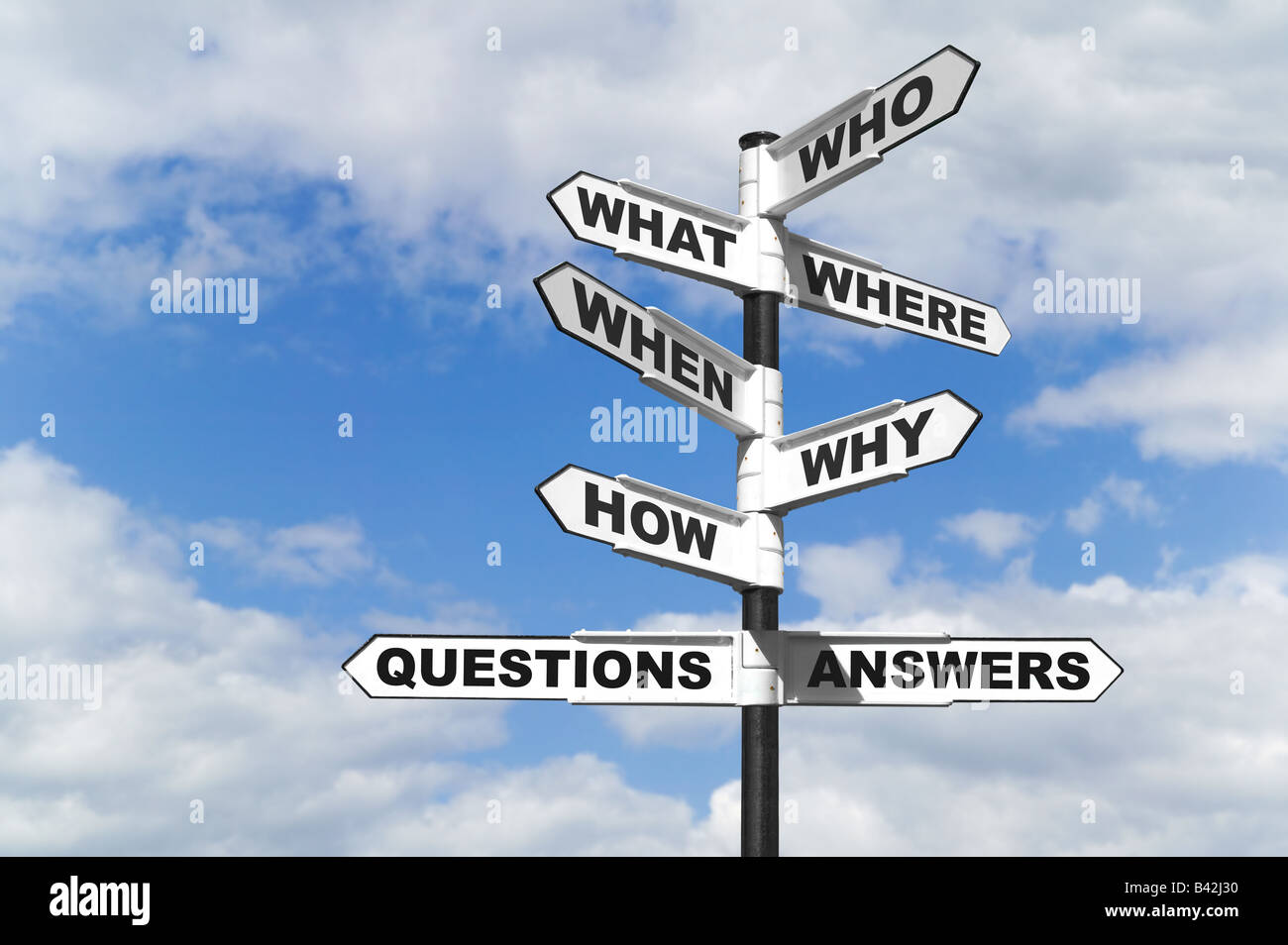 Concept image of the six most common questions and answers on a signpost - Stock Image
