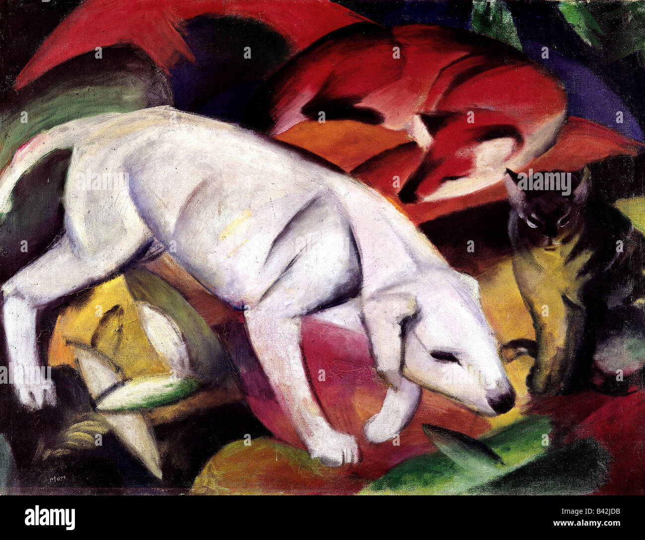 fine arts, Marc, Franz, 8.2.1880 - 4.3.1916, painting, 'Dog, fox and cat', (Hund, Fuchs und Katze), 1912, - Stock Image