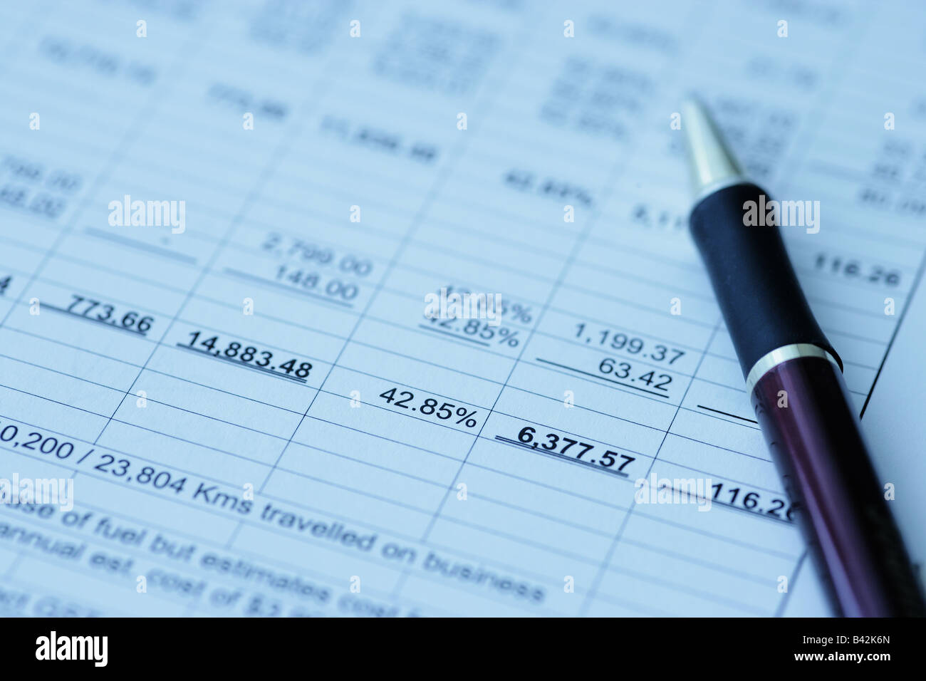 Business financial results - Calculating budget - Stock Image