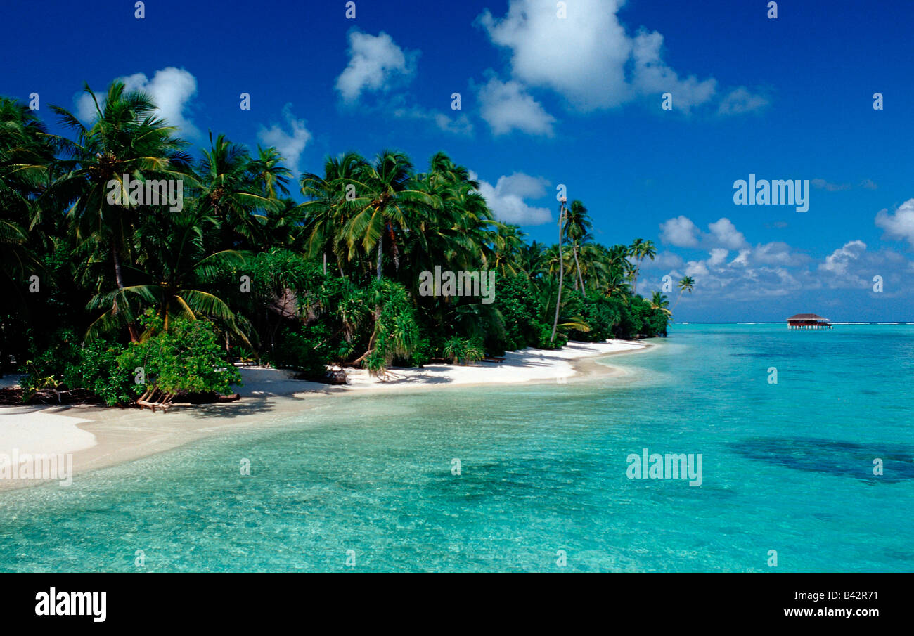 Beach at Maledives Island Indian Ocean Maldives - Stock Image
