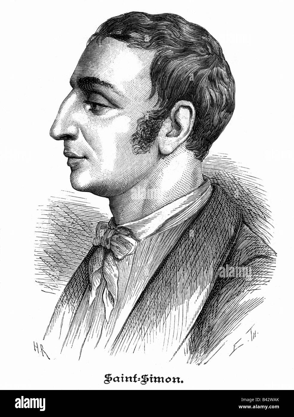 Saint-Simon, Claude Henri Comte de, 17.10.1760 - 19.5.1825, French philospher, portrait, wood engraving after lithograph - Stock Image
