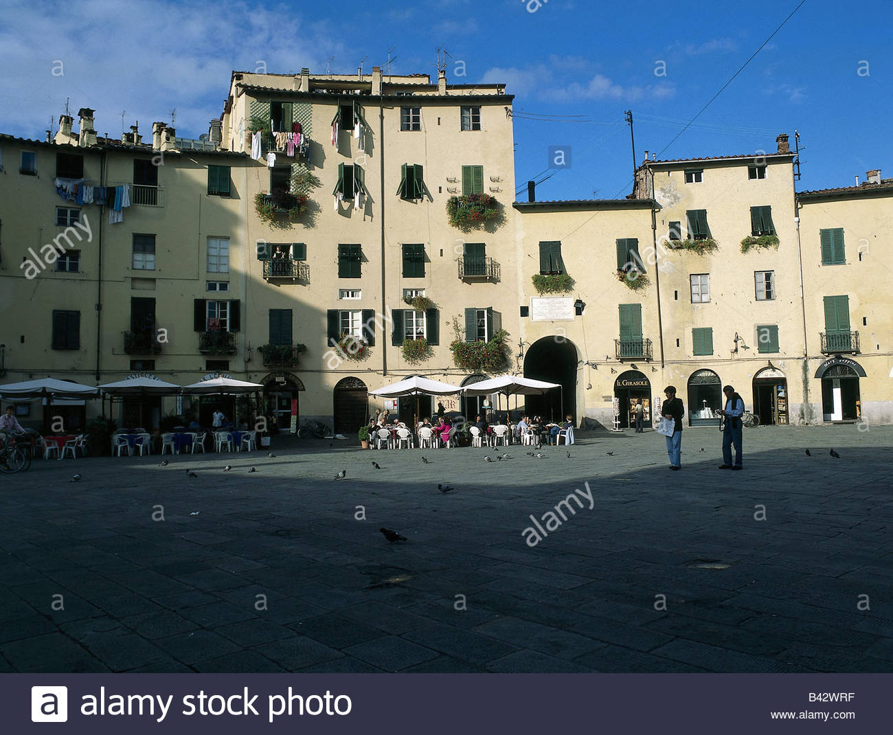 geography / travel, Italy, Tuscany, Lucca, squares, Piazza Del Mercato, Stock Photo