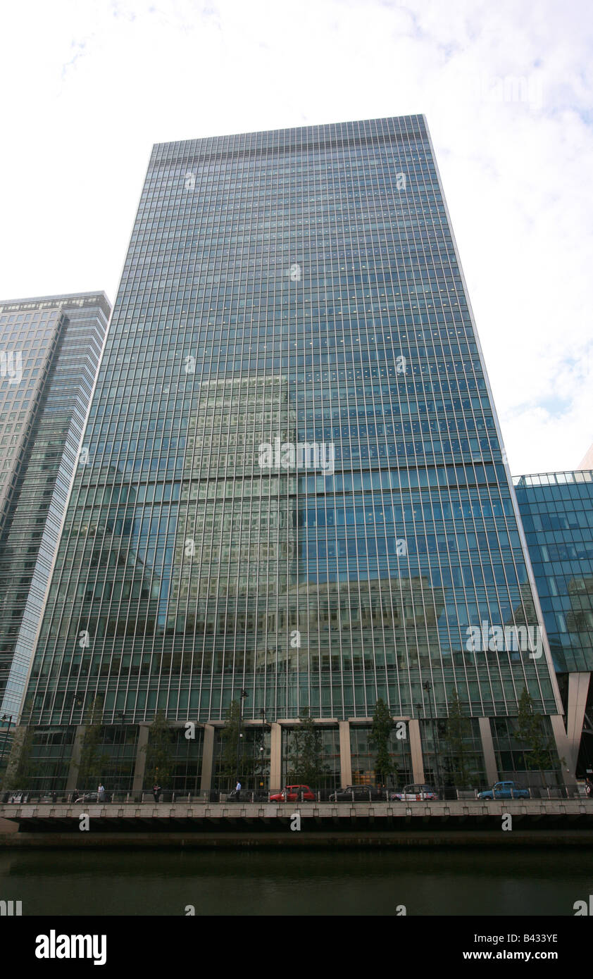 Lehman Brothers building London Head office Bank Street Canary Wharf Docklands financial banking area district London - Stock Image