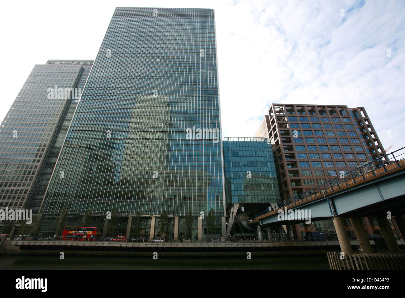 Lehman Brothers building London Bank Street Canary Wharf Docklands financial banking area district London UK head Stock Photo