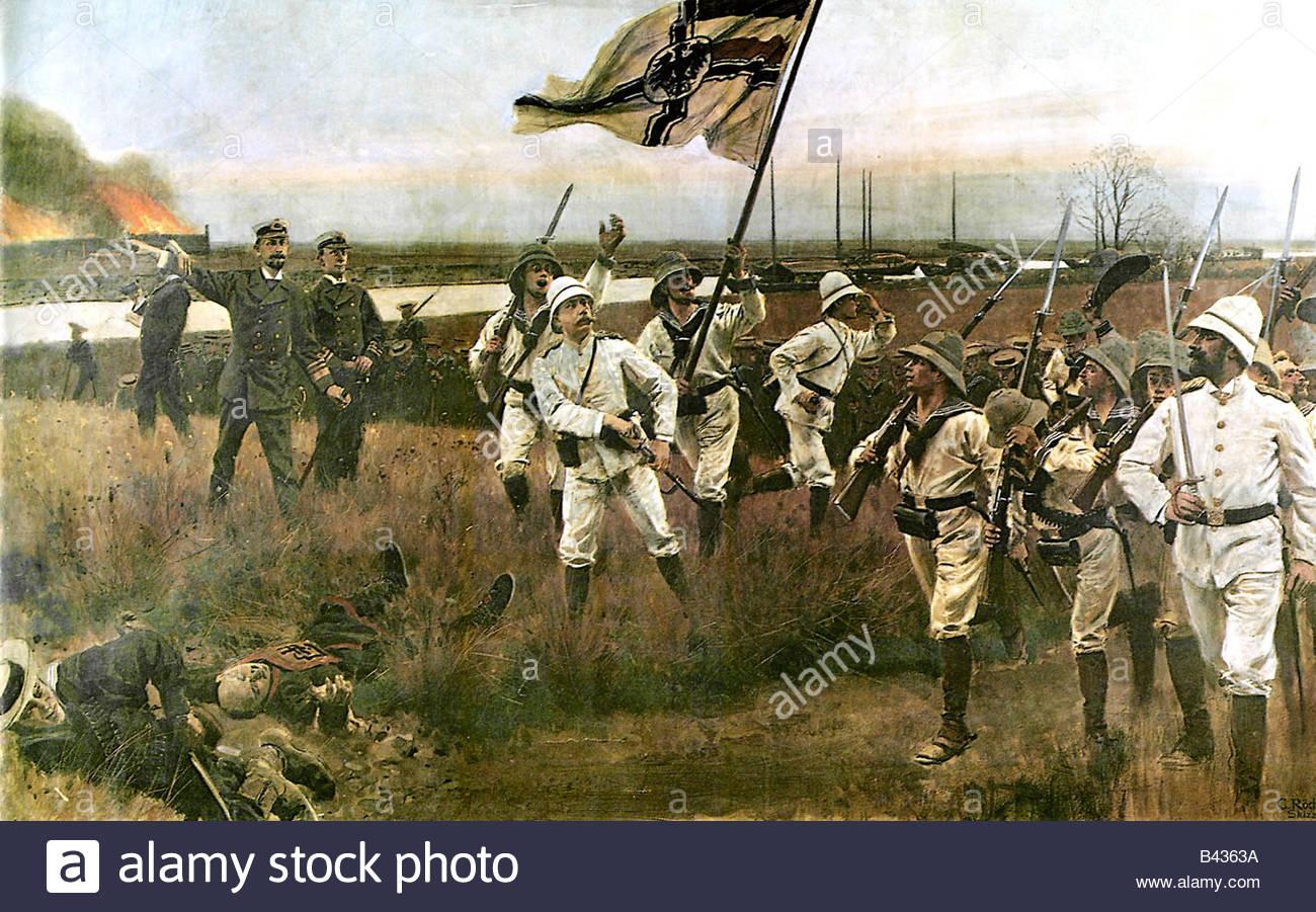 geography / travel, China, Boxer Rebellion 1900, attack at Fort Haiku, 22.6.1900, Lord Seymor sending German navy - Stock Image