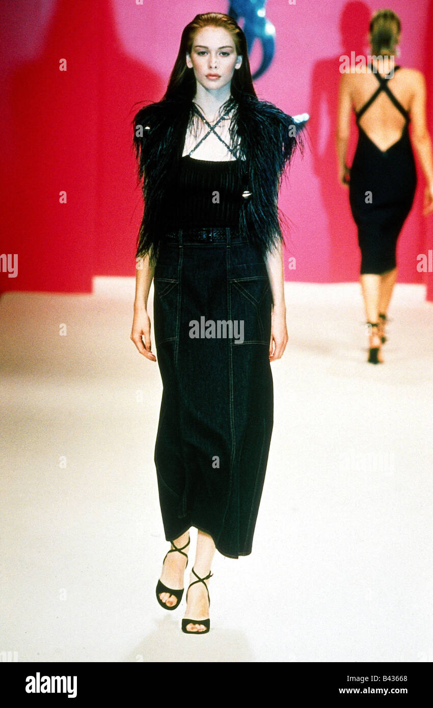 04849c5615d fashion, Yves Saint Laurent, spring / summer collection 1996, Rive Gauche,  jeans skirt with knitting top and Bolero, model, full
