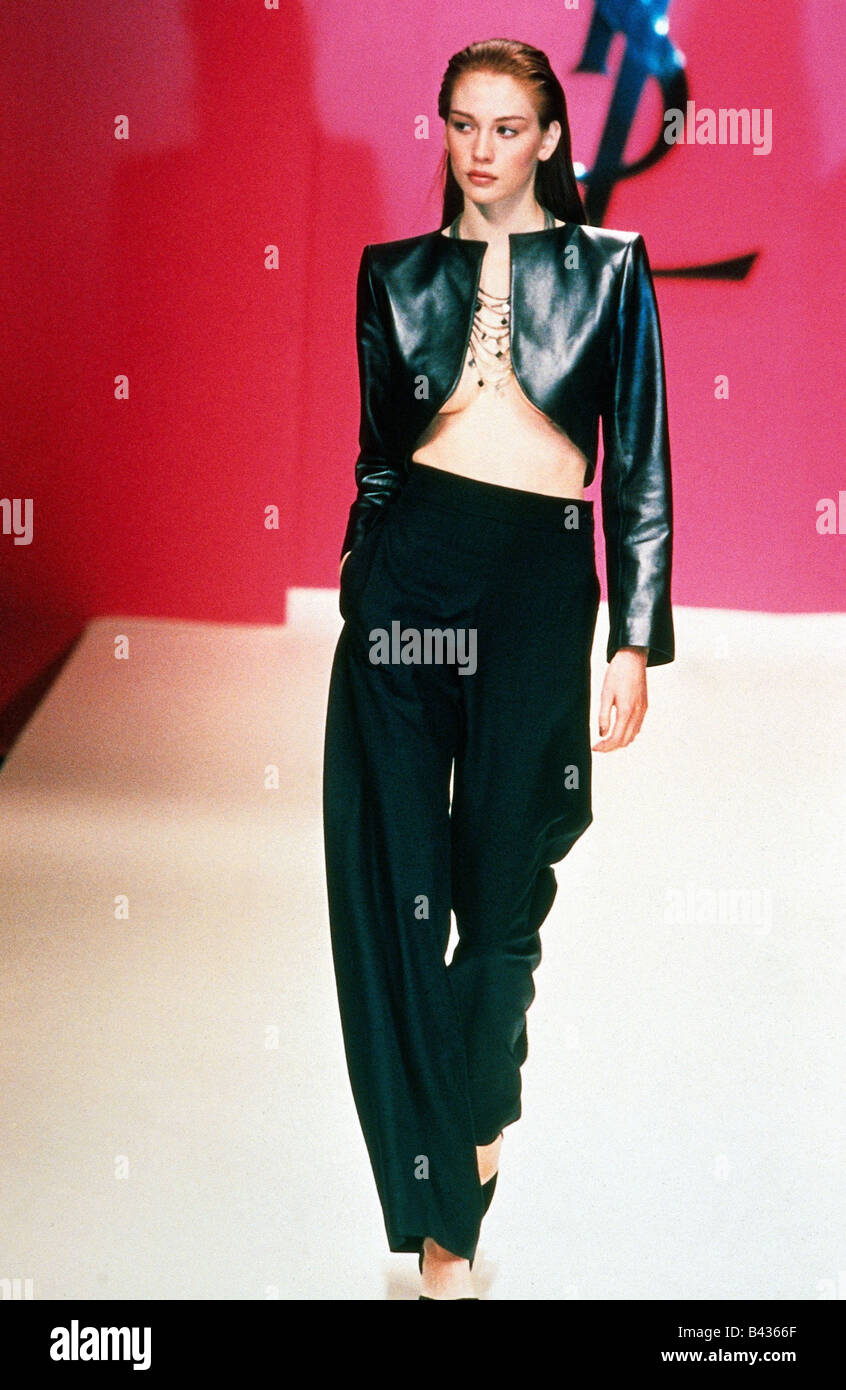 988767e071c fashion, Yves Saint Laurent, spring / summer collection 1996, Rive Gauche,  leather, Bolero and silk trousers, full length, Saint