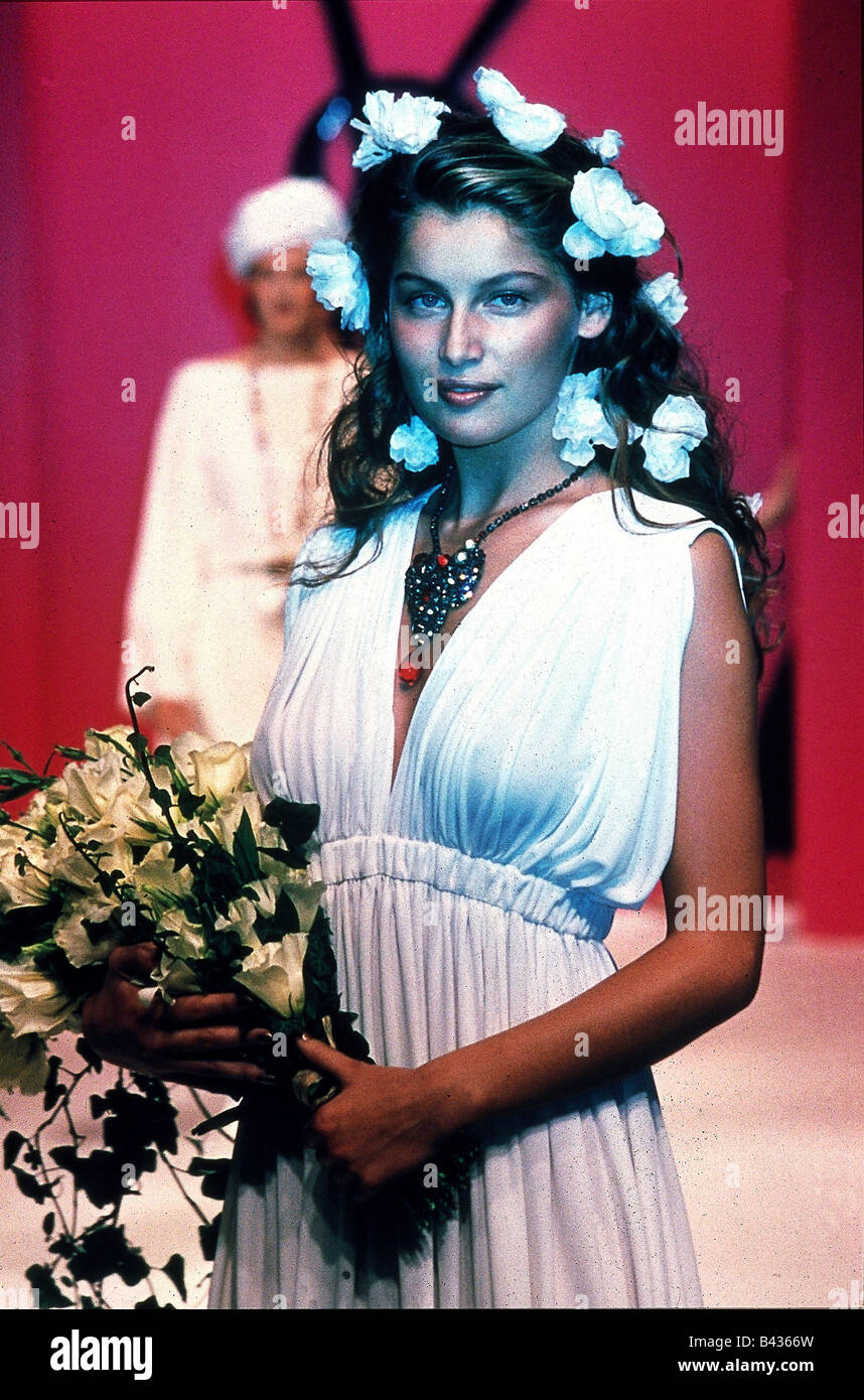 90dc4e97794 fashion, Yves Saint Laurent, spring / summer collection 1996, Rive Gauche,  bride dress, silken jersey, weared by Leatitia Casta,