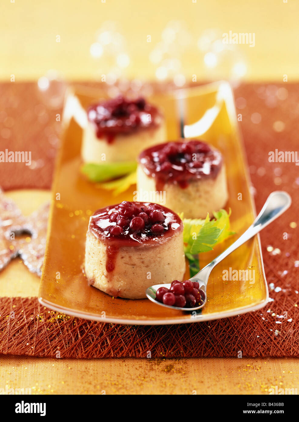 Pureed celery with cranberries - Stock Image
