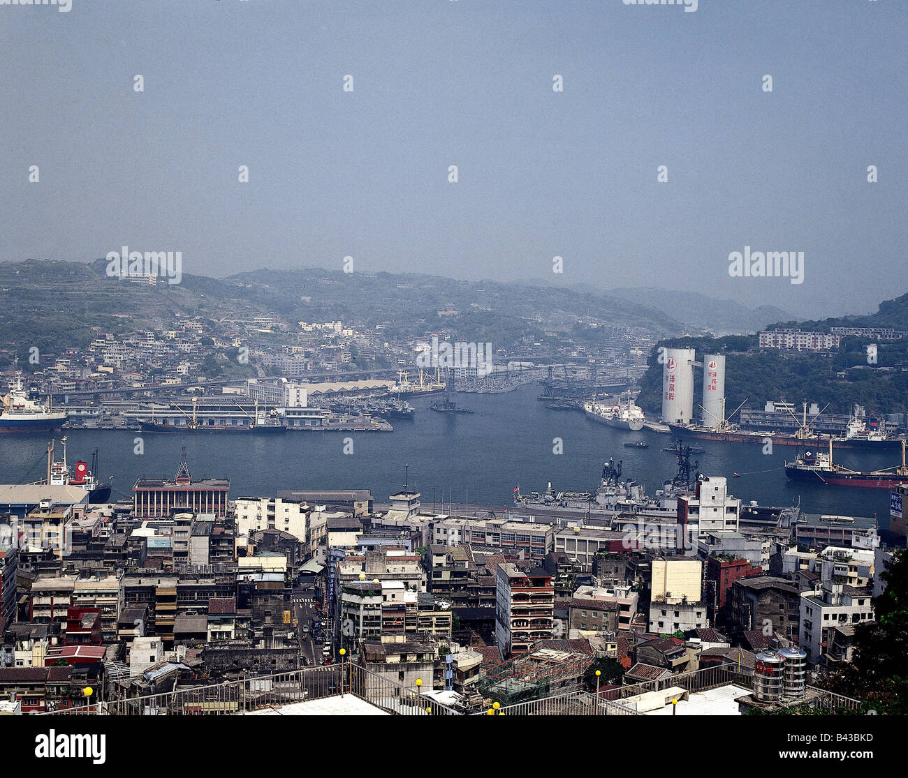 geography / travel, Taiwan, Taipeh, harbour of Taipeh, Keelung, city view   , Additional-Rights-Clearances-NA - Stock Image