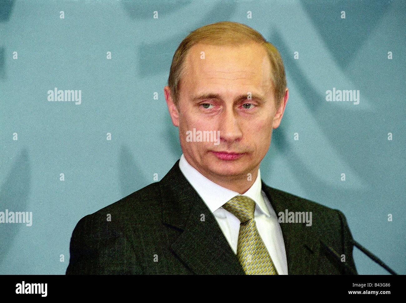Putin, Vladimir, * 7.10.1952, Russian politician, president of Russia since 2000, portrait, visiting Berlin, 15.6.2000, - Stock Image
