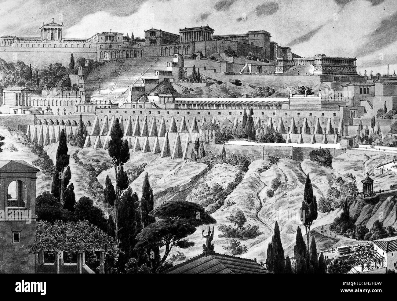 geography / travel, Turkey, Pergamon, Western view, 2nd century AD, drawing by Otto Girard after reconstruction - Stock Image