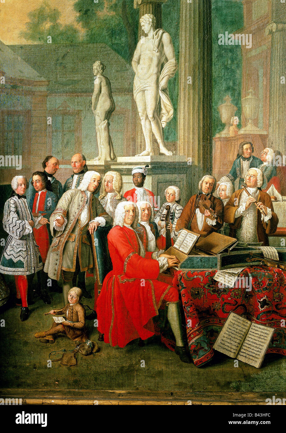 music, concerts, court concert at castle Ismaning, painting by Peter Jakob Horemans, Munich, 1733, Additional-Rights - Stock Image