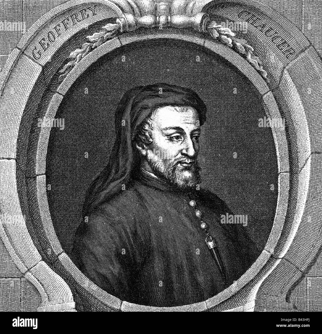 Chaucer, Geoffrey, um 1340 - 25.10.1400, English author / writer, portrait, copper engravng by Jacobus Houbraken, - Stock Image