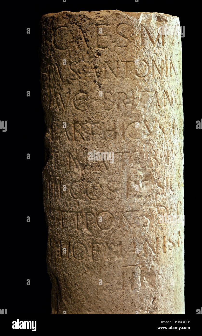 fine arts, Roman empire, objects, 'Milestone', sandstone, 210 AD, probably donated by emperor Caracalla, - Stock Image