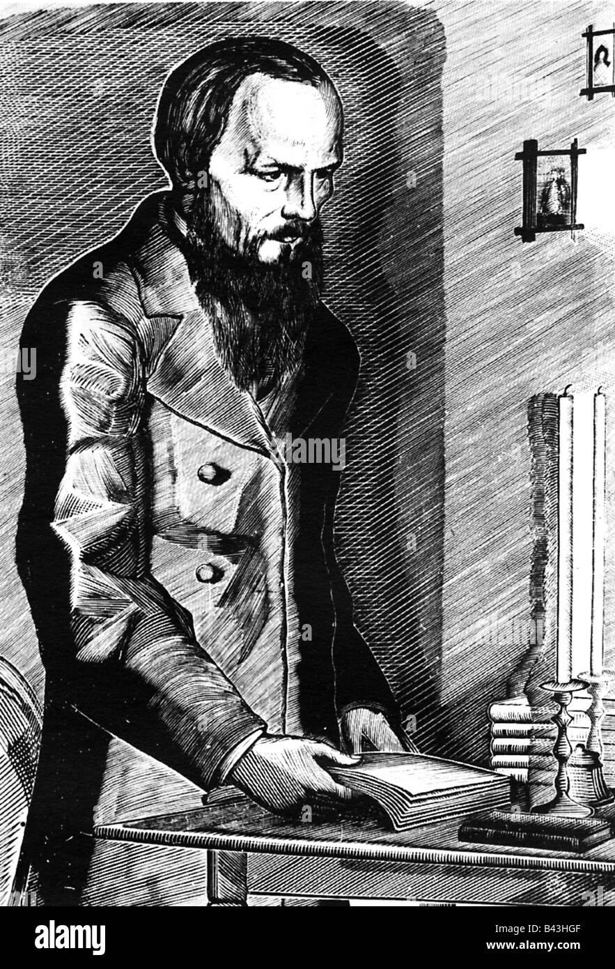Dostoevsky, Fyodor Mikhailovich, 11.11.1821 - 9.2.1881, Russian writer, novelist, half length, historical picture, - Stock Image