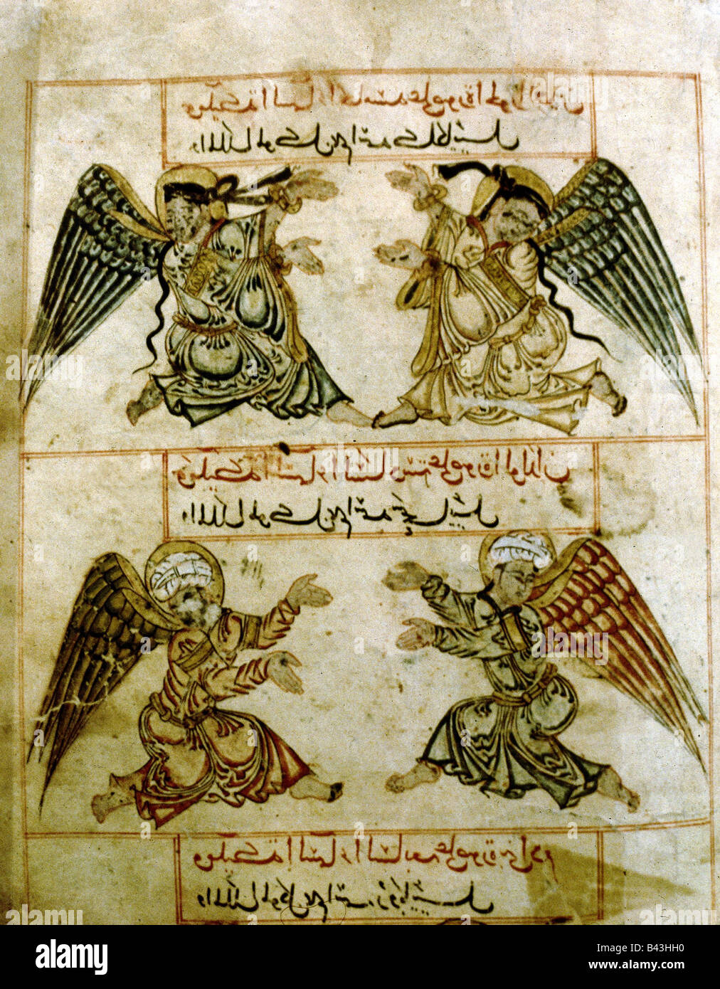religion, Islam, four angels, book of wonder of creation, Persian miniature on vellum, parchment, late 13th century, - Stock Image