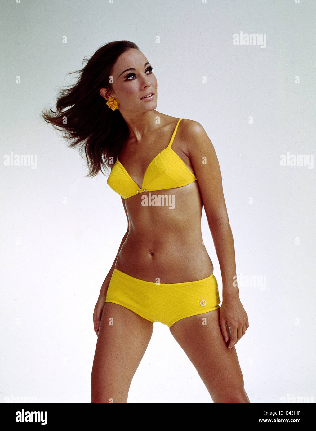 fashion, 1960s, model, wearing bikini, half length, clothing, women, bathing suit, two-piece, two piece, 60s, ladieswear, - Stock Image