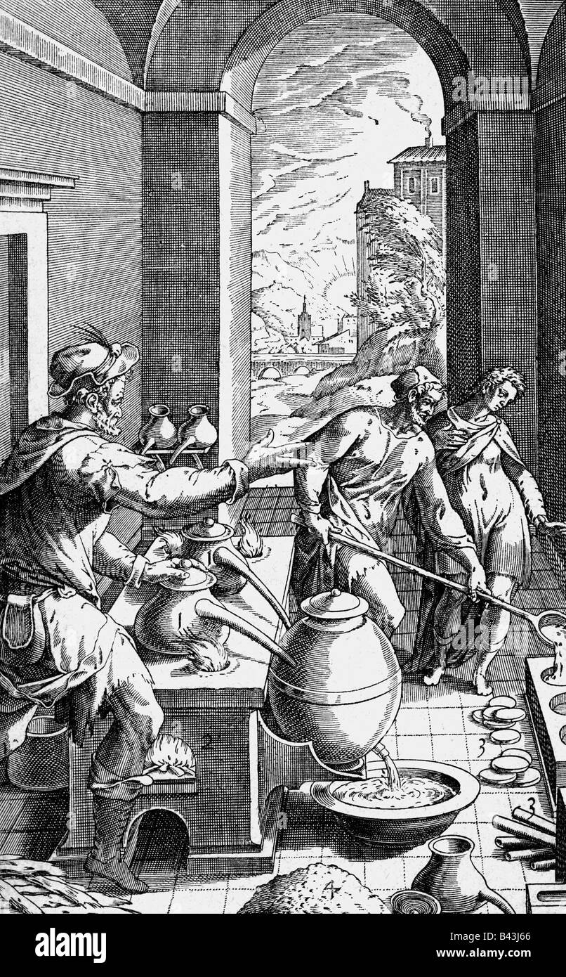 alchemy, alchemists, alchemist and assistants in the laboratory, copper engraving, 'Metallotheca Vaticana' - Stock Image