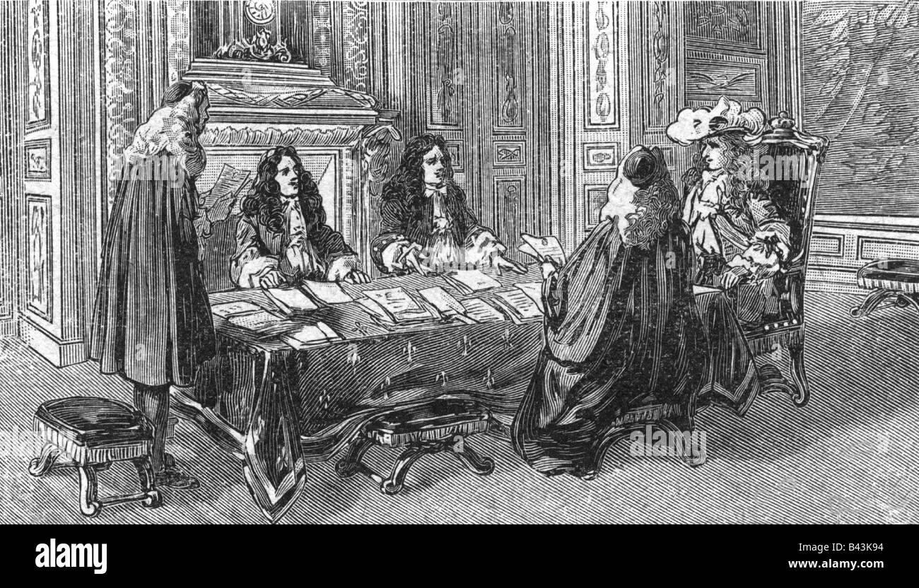 Louis XIV, 5.9.1638 - 1.9.1715, King of France 14.5.1643 - 1.9.1715, in the Royal Council, Jean Baptiste Colbert Stock Photo